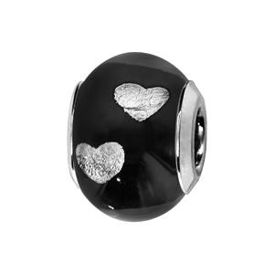 Charms Thabora en argent rhodié et verre de Murano véritable noir avec coeurs argentés - Vue 1
