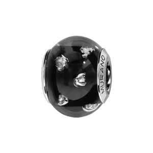 Charms Thabora en argent rhodié et verre de Murano véritable noir avec taches argentées - Vue 1