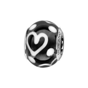 Charms Thabora en argent rhodié et verre de Murano véritable noir décoré de coeurs et de points blancs