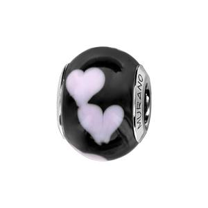 Charms Thabora en argent rhodié et verre de Murano véritable noir décoré de coeurs roses