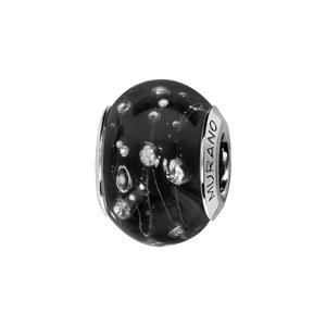 Charms Thabora en argent rhodié et verre de Murano véritable noir orné de fils et gouttes argentés - Vue 1
