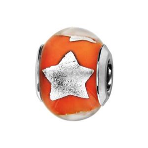 Charms Thabora en argent rhodié et verre de Murano véritable orange avec étoiles argentées - Vue 1