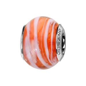 Charms Thabora en argent rhodié et verre de Murano véritable orange zébré blanc - Vue 1