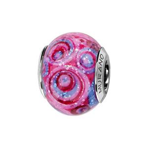 Charms Thabora en argent rhodié et verre de Murano véritable rose avec spirales rouges et violettes pailleté - Vue 1