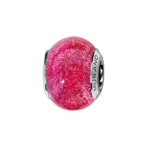 Charms Thabora en argent rhodié et verre de Murano véritable rose pailleté - Vue 1