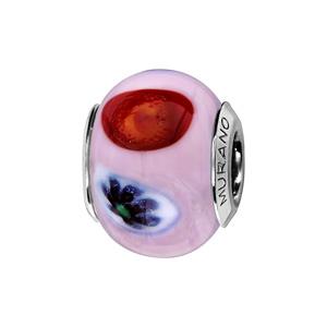 Charms Thabora en argent rhodié et verre de Murano véritable rose pâle avec taches colorées