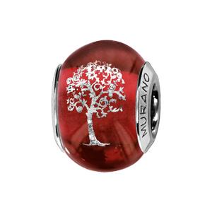 Charms Thabora en argent rhodié et verre de Murano véritable rouge avec arbre de vie argenté - Vue 1