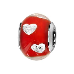 Charms Thabora en argent rhodié et verre de Murano véritable rouge avec coeurs argentés - Vue 1