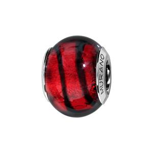 Charms Thabora en argent rhodié et verre de Murano véritable rouge avec 1 filet noir - Vue 1
