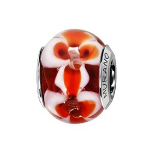Charms Thabora en argent rhodié et verre de Murano véritable rouge avec fleurs rouge orangé et blanches