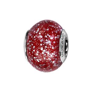Charms Thabora en argent rhodié et verre de Murano véritable rouge avec paillettes - Vue 1