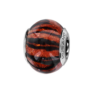 Charms Thabora en argent rhodié et verre de Murano véritable rouge brun zébré noir pailleté - Vue 1