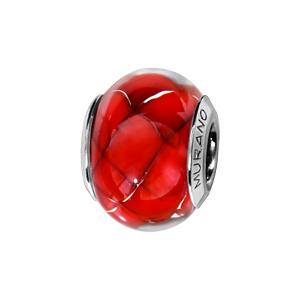 Charms Thabora en argent rhodié et verre de Murano véritable rouge décoré d'1 motif quadrillé