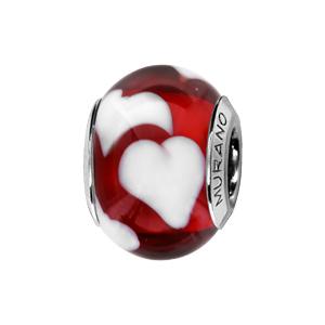 Charms Thabora en argent rhodié et verre de Murano véritable rouge décoré de gros coeurs blancs
