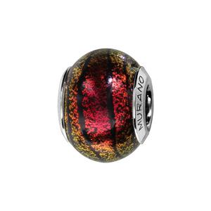 Charms Thabora en argent rhodié et verre de Murano véritable rouge et jaune orangé avec filets et effet givré noir - Vue 1