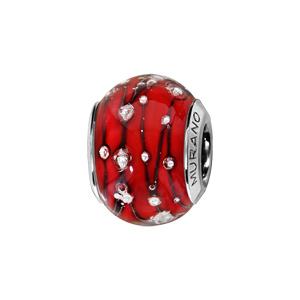 Charms Thabora en argent rhodié et verre de Murano véritable rouge orné de fils et gouttes noirs et argentés - Vue 1