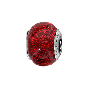 Charms Thabora en argent rhodié et verre de Murano véritable rouge pailleté - Vue 1
