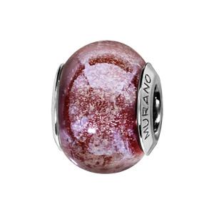 Charms Thabora en argent rhodié et verre de Murano véritable rouge pailleté nacré - Vue 1
