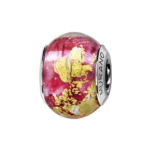 Charms Thabora en argent rhodié et verre de Murano véritable rouge rosé avec feuille dorée - Vue 1