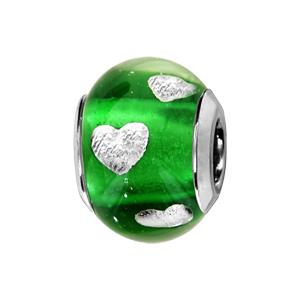 Charms Thabora en argent rhodié et verre de Murano véritable vert clair avec coeurs argentés - Vue 1