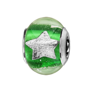 Charms Thabora en argent rhodié et verre de Murano véritable vert clair avec étoiles argentées - Vue 1