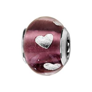 Charms Thabora en argent rhodié et verre de Murano véritable violet avec coeurs argentés - Vue 1