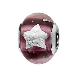 Charms Thabora en argent rhodié et verre de Murano véritable violet avec étoiles argentées - Vue 1