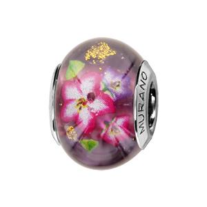 Charms Thabora en argent rhodié et verre de Murano véritable violet avec fleurs tropicales roses et violettes - Vue 1