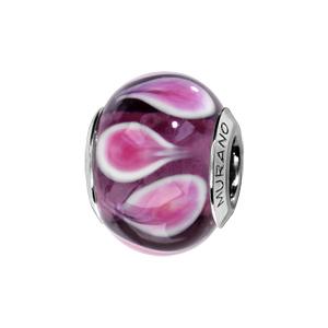 Charms Thabora en argent rhodié et verre de Murano véritable violet avec gouttes roses et blanches en sens inverse alterné