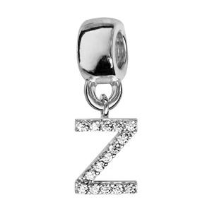 Charms Thabora en argent rhodié lettre Z ornée d\'oxydes blancs suspendu - Vue 1