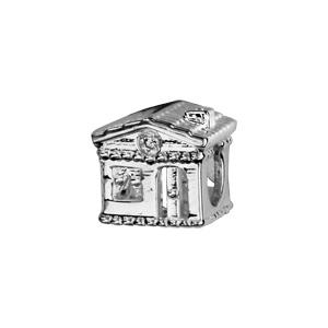 Charms Thabora en argent rhodié maison ornée d'oxydes blancs