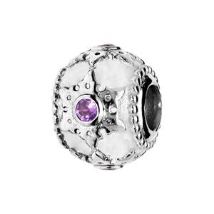 Charms Thabora en argent rhodié motif étoile ciselé et Amethyste véritable - Vue 1