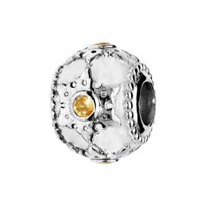 Charms Thabora en argent rhodié motif étoile ciselé et Citrine véritable - Vue 1