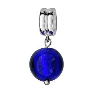 Charms Thabora en argent rhodié perle en verre de Murano véritable bleu foncé suspendue - Vue 1