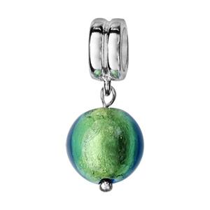Charms Thabora en argent rhodié perle en verre de Murano véritable verte avec reflets bleutés suspendue