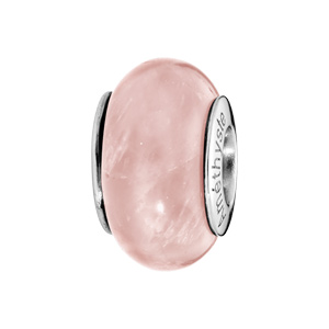Charms Thabora en argent rhodié pierre naturelle Quartz rose - Vue 1