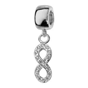 Charms Thabora en argent rhodié symbole infini suspendu orné d'oxydes blancs