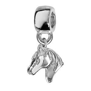 Charms Thabora en argent rhodié tête de cheval suspendue - Vue 1