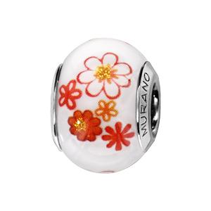 Charms Thabora en argent rhodié verre de Murano véritable blanc fleurs oranges