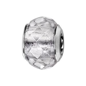 Charms Thabora en argent rhodié verre facetté blanc transparent - Vue 1