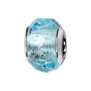 Charms Thabora en argent rhodié verre facetté bleu clair transparent - Vue 1