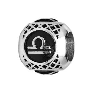 Charms Thabora grand modèle pour homme en acier boule signe zodiaque Balance patiné noire - Vue 1