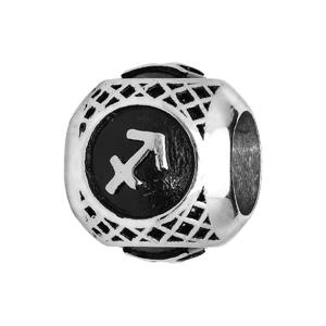 Charms Thabora grand modèle pour homme en acier boule signe zodiaque Sagittaire patiné noire - Vue 1