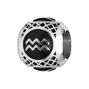 Charms thabora grand modèle pour homme en acier boule signe zodiaque Verseau patiné noire - Vue 1