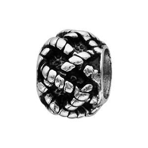 Charms Thabora grand modèle pour homme en acier boule tressé relief patiné - Vue 1
