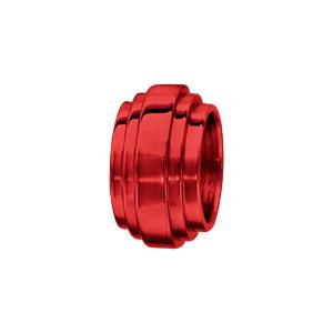 Charms Thabora grand modèle pour homme en acier et aluminium anodisé rouge brillant forme godron - Vue 1