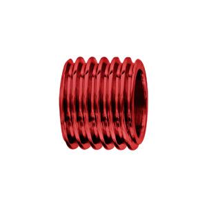 Charms Thabora grand modèle pour homme en acier et aluminium anodisé rouge brillant forme tube motif rainures - Vue 1