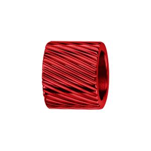 Charms Thabora grand modèle pour homme en acier et aluminium anodisé rouge brillant forme tube strié - Vue 1