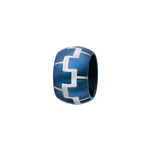 Charms Thabora grand modèle pour homme en acier et PVD bleu anneau bombé avec motifs briques gris - Vue 1