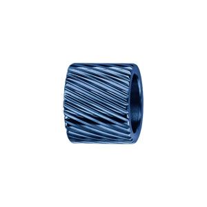 Charms Thabora grand modèle pour homme en acier et PVD bleu forme tube strié en diagonale - Vue 1